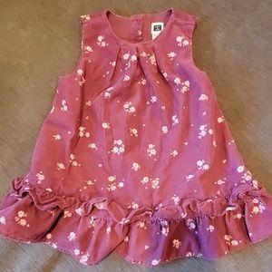 Janie and Jack Corduroy Mauve Dress w Pink Flowers